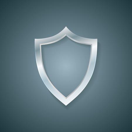 buckler: Vector blank profile shield. Defense icon. Protection concept. Illustration
