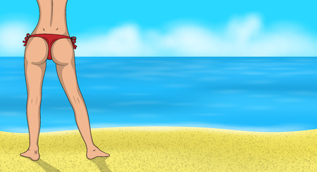 A Sexy girl in bikini on the beach. Woman buttocks vector illustration. Female Ass and legs on the sea background.