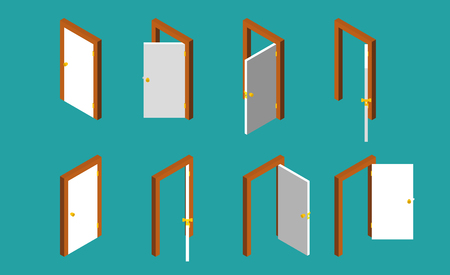 doorknob: White isometric door. Set of the opened and closed doors. Vector illustration.