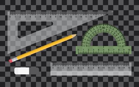 Transparent plastic ruler set. Measuring tool,pencil and eraser. Vector school supplies Illustration