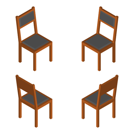 Isometric Classic Wooden chair. Isolated vector isolated illustration Illustration