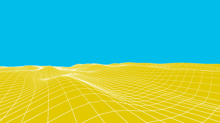 abstract waves: Abstract vector desert background. Landscape grid illustration. 3d technology wireframe vector. Digital mesh for banners Illustration