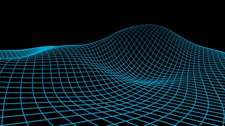 추상적 인 벡터 사이버 공간 배경입니다. 프리 그리드 그림입니다. 3d 기술 와이어 프레임 벡터입니다. 배너 디지털 메쉬