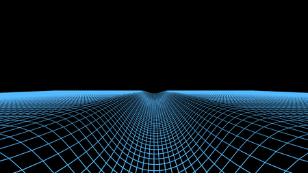 Abstract digital tunnel background. Landscape grid illustration. 3d cyberspace technology wireframe vector. Digital mesh ravine for banners
