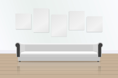 guest house: Realistic white long soft sofa with reflection on the floor. Luxury couch and pictures on the wall. Modern living room, office or lounge. Vector illustration. Illustration