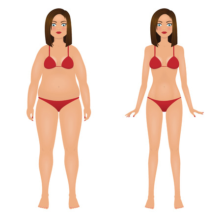 Fat and slim woman in red bikini. Girl before and after weight loss. Isolated vector illustration