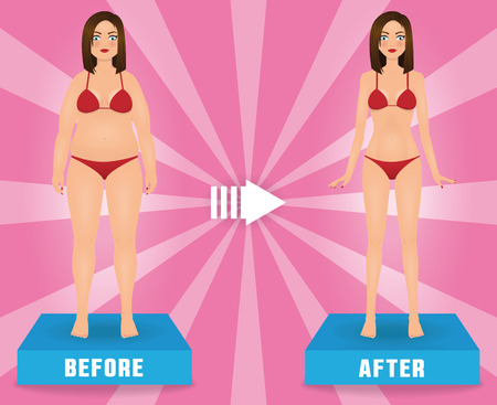 Fat and slim woman in red bikini. Girl before and after weight loss. Vector advertising banner.