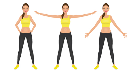 Fit pretty woman in yellow crop top and leggings. Illustration
