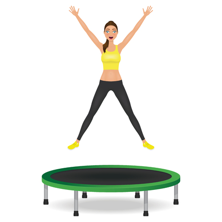 Young woman jumping on trampoline