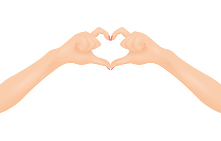 hopeful: Womans hands make heart shape. In love and relationship concept. Isolated vector illustration.