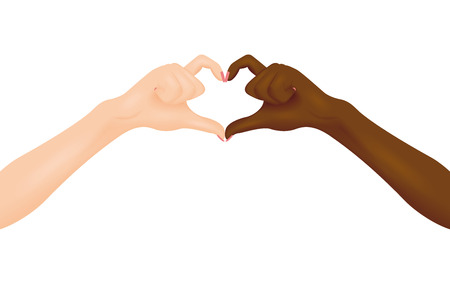 Black and white hands making heart shape. Vector illustration. Interracial friendship concept.