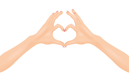 hopeful: Womans hands make heart shape. In love concept. Isolated vector illustration. Illustration