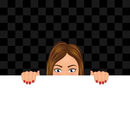Giovane donna che osserva lo spazio in bianco con copia. Ragazza che si nasconde dietro lo stendardo. Illustrazione vettoriale