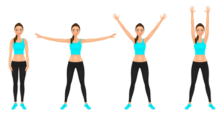 Smiling Yong woman make hands up and hands to the sides exercises. Fit girl in leggings and blue crop top. Vector character. Illustration