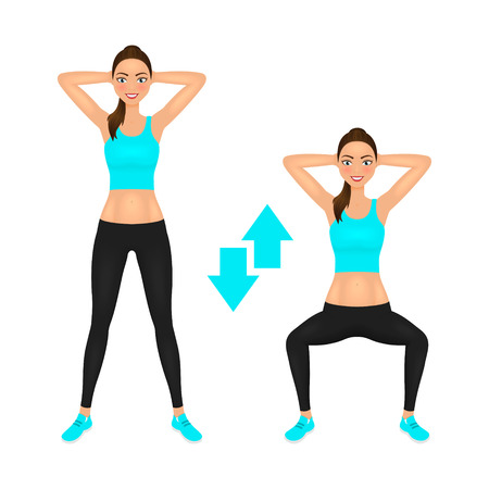 Squats exercise instruction. Smiling young woman make squats with hands behind the head. Fit girl in sportswear. Vector character. Illustration