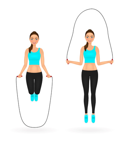 Fit girl in leggings and crop top doing exercises with jumping rope. Ilustracja