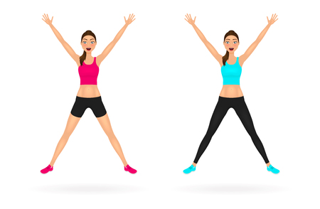 Pretty jumping girl in sportswear with hands up. Happy young woman characters set. Vector illustration. Stock Photo
