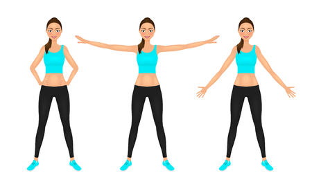 Warming-up fit pretty woman in blue crop top and leggings. Smiling sport girl in different poses training. Vector character.