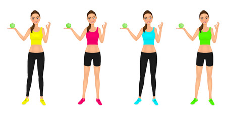 Young smiling woman in sportswear with apple showing ok sign. Healthy lifestyle promoting. Vector characters set. Stock Photo