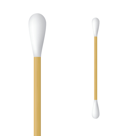 Realistic cotton ear swab. Vector illustration of wooden ear stick Ilustração