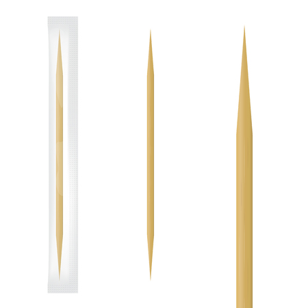 Realistic wooden toothpick in transparent individual package. Vector illustration Reklamní fotografie - 92250896