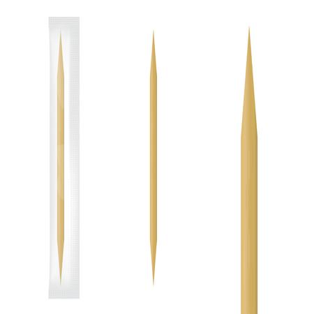 Realistico stuzzicadenti in legno in confezione individuale trasparente. Illustrazione vettoriale