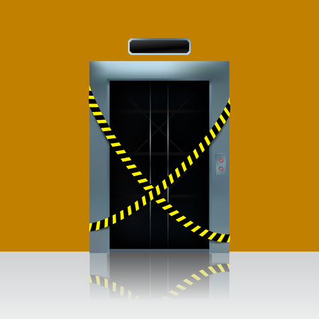Broken out of order elevator. Vector illustration of elevator shaft with caution ribbon.