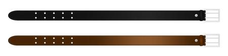 Realistica cintura in pelle nera e marrone con fibbia metallica. Illustrazione vettoriale isolato
