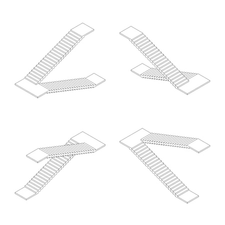 Isometric outline stairs plan. Vector illustration.