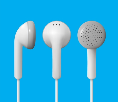 Realistic white earphones. Isolated vector of earbuds.
