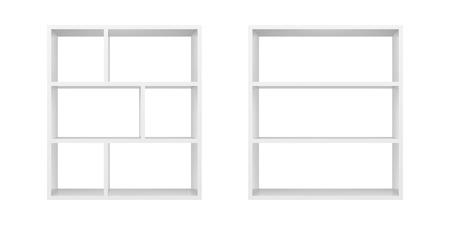 White empty bookshelf template vector illustration