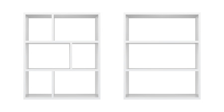 White empty bookshelf template vector illustration