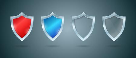 Shield set, blue, red and glass shields vector illustration, defense concept. Illustration