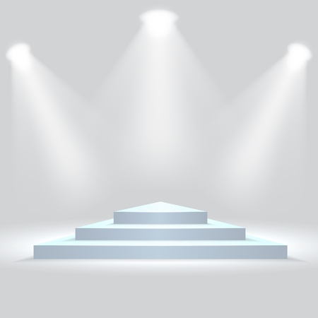 Triangle podium illuminated by spotlights. Empty ceremony pedestal. Vector illustration. Stock Illustratie