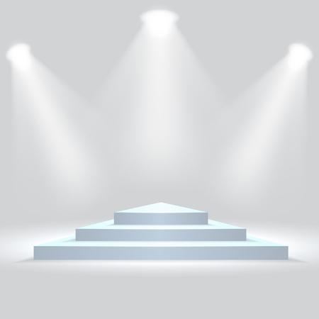 Triangle podium illuminated by spotlights. Empty ceremony pedestal. Vector illustration. Illusztráció