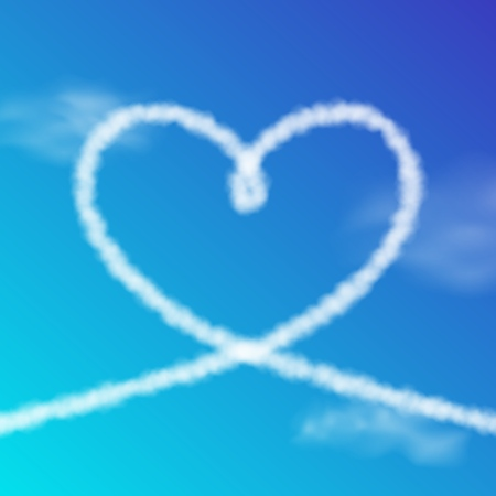 Heart shape from realistic clouds on a blue sky. Vector illustration for banner or poster design. Love concept Illustration