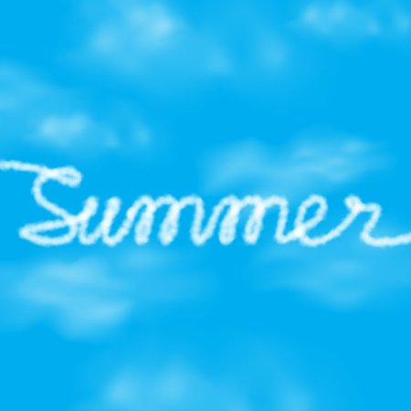 Summer text from realistic clouds on a blue sky. Vector illustration for banner or poster design. Holidays concept