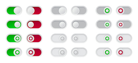 On and Off switch button set of red and green toggle icon.