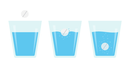 Effervescent pill dissolve in a glass of water. Flat vector illustration of fizzy tablet.