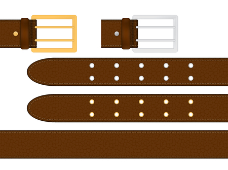 Seamless brown leather belt with metallic silver and golden buckle. Isolated vector illustration. 矢量图像