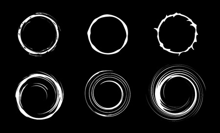 Space black hole set. Swirl abstract circles. Isolated vector illustration. Vettoriali