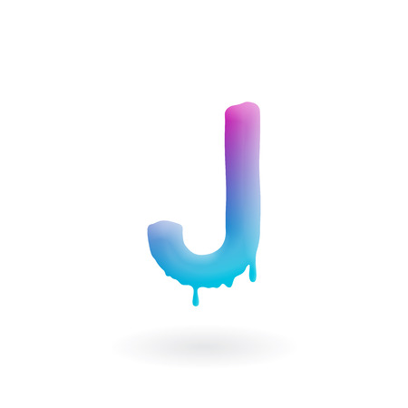 Letter J logo. Colored paint character with drips. Dripping liquid symbol. Isolated art concept vector.