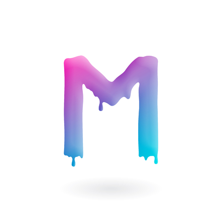Letter M logo. Colored paint character with drips. Dripping liquid symbol. Isolated art concept vector.