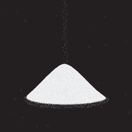 Suiker of zout hoop. Vectorillustratie op zwarte achtergrond.