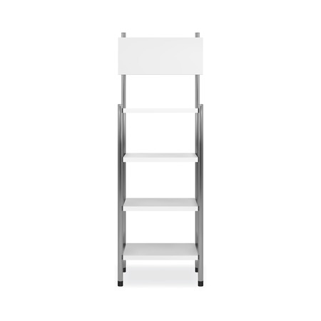 Promotion shelving mockup. Isolated vector retail product stand with shelves. Ilustração