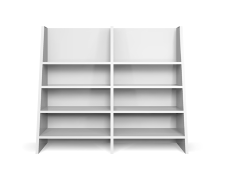 Inclined promotion shelving mockup. Isolated vector retail product stand with shelf Stock Illustratie