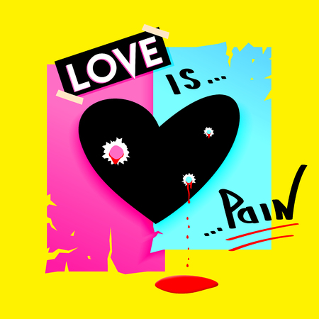 Heart with bullet holes and dripping blood. Love is pain concept. Modern vector design. Love is pain concept. Illustration