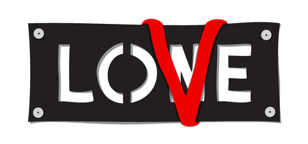 Lone - love concept. Pinned cloth with red ribbon letter V. Modern vector design. Illustration