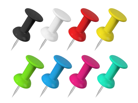 Realistic colorful push pins collection. Isolated vector illustration
