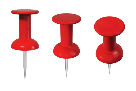 Realistic red push pins set. Isolated vector illustration